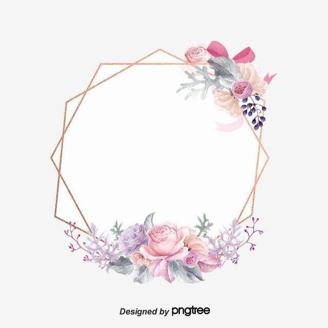 Pink Retro Spring Flower Geometric Border Elements Geometric Border Vintage Hand Painted Png Tra In 2020 Flower Graphic Design Floral Logo Design Flower Logo Design