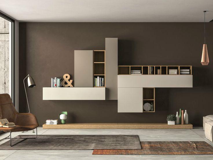 Sectional storage wall SLIM 104 by Dall'Agnese design Imago Design, Massimo Rosa