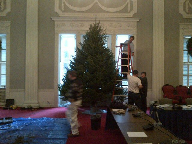 A Christmas tree arrives at the Nova Scotia Legislature. Photo courtesy of Jean Laroche @larochecbc