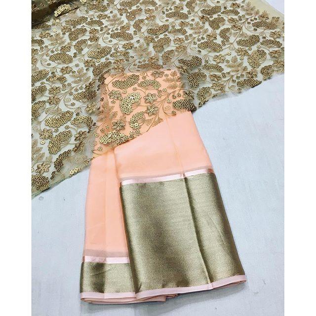 """Peach chiffon saree with gold emboridery blouse"