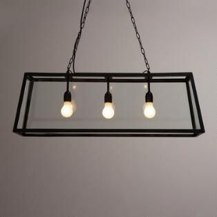 Rectangular 4-Sided Glass Pendant Lamp