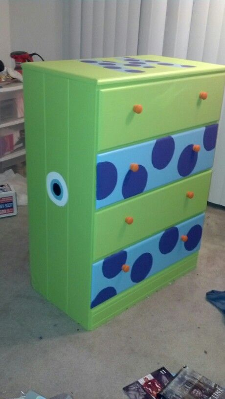 A dresser my best friend painted for our Monsters Inc themed nursery!