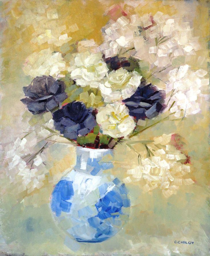 fleurs violettes et blanches dans un vase bleu - huile sur toile 50*61 cm