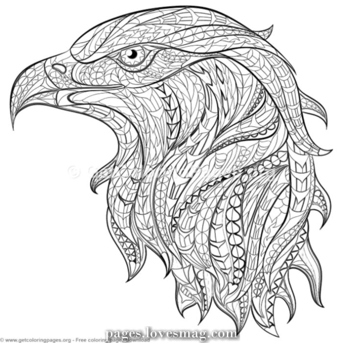Luxurious Zentangle Eagle With Drawings For Coloring Getcoloringpages Org Coloring Col Zentangle Animals Animal Coloring Pages Zentangle
