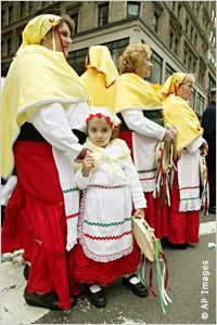 Girl and women in traditional Italian costumes (AP Images) for Nyah's heritage project
