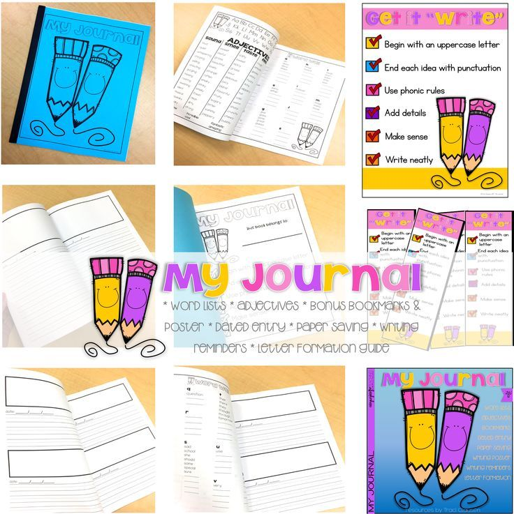 *FREEBIE* Student Writing Journal -  Up your writing game! This sweet journal has everything your kiddos need for journaling! AND IT IS FREE!!  INCLUDES: * Word Lists * Adjectives * Bonus Bookmarks & Poster * Dated Entry * Paper Saving * Writing reminders * Letter formation Guide #studentjournal