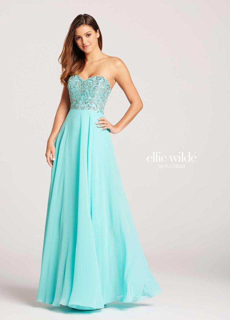 Ellie Wilde EW118094 - Strapless chiffon slim A-line dress with sweetheart neckline. Bodice covered in swirling bead designs that overlay the top of the fluttering chiffon skirt that drapes over the hips and billows out into a full skirt. Removable straps included.