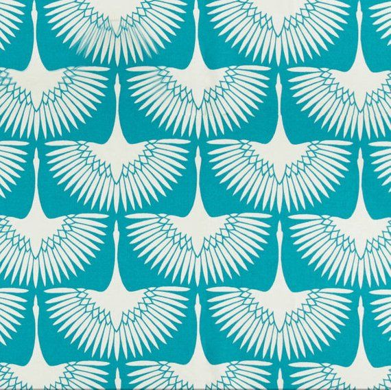 Art Deco Print Fabric Genevieve Gorder Flock Cerulean Outdoor