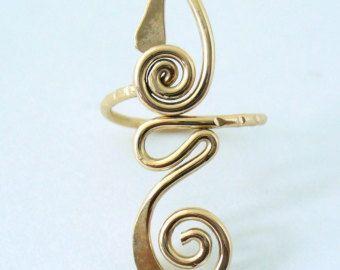12k Gold Filled Long Toe Ring by Forkwhisperer on Etsy