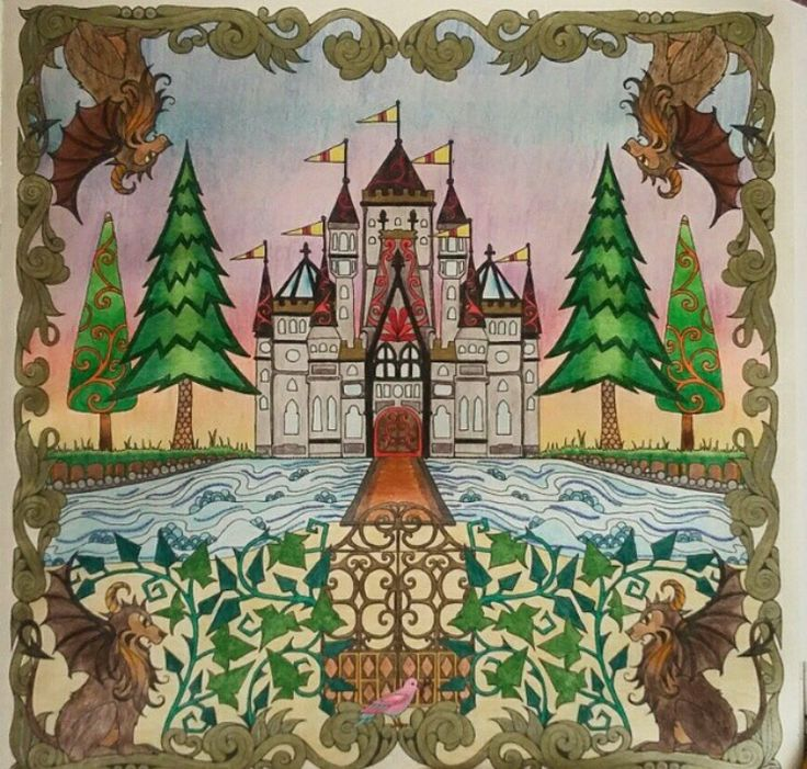 Castle Gate Enchanted Forest Castelo Porto Floresta Encantada Johanna Basford ColouringAdult ColoringColoring BooksForest