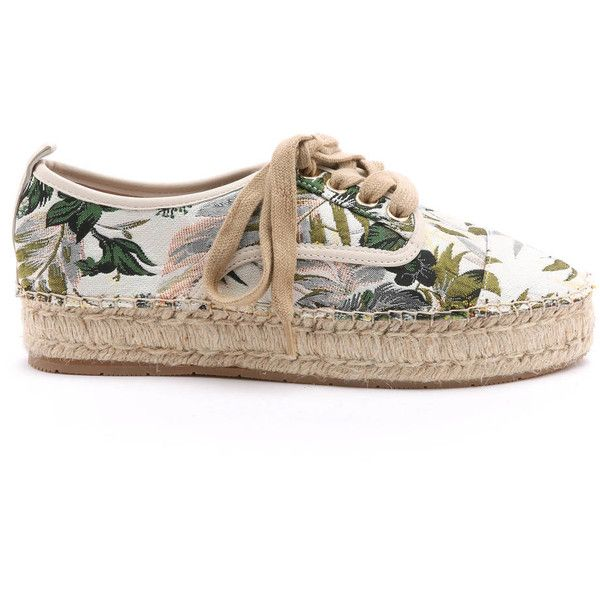 J/Slides Rally Lace Up Floral Espadrille Sneakers (415 BRL) ❤ liked on Polyvore featuring shoes, sneakers, multi, floral platform sneakers, espadrilles shoes, floral print sneakers, platform shoes and colorful sneakers
