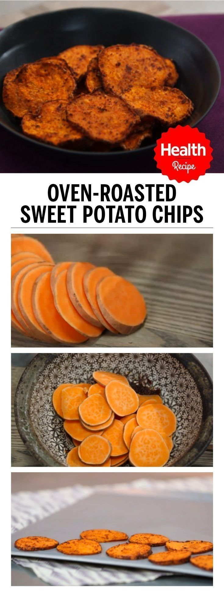 How to make Oven-Roasted Sweet Potato Chips with this easy recipe. Forget going to the store—you can make these chips right in your own oven. Here's how to make crispy, oven-roasted sweet potato chips that are seasoned with chili powder for an extra kick. | Health.com
