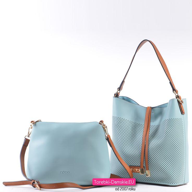 Dwie torebki w komplecie - piękny odcień jasnego pastelowego błękitu, elementy brązowe i złote detale metalowe - przejdź do naszego sklepu internetowego i sprawdź szczegóły