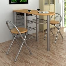 Breakfast Bar Table and Chairs Set Wooden Furniture Kitchen Wood Steel Modern