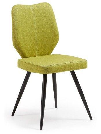 Questa sedia è strutturata con gambe in acciaio verniciato nero, seduta e spalliera imbottite con poliuretano espanso media densità, rivestimento in tessuto nero, marrone, azzurro, arancio e verde con cucitura a contrasto sulla spalliera.