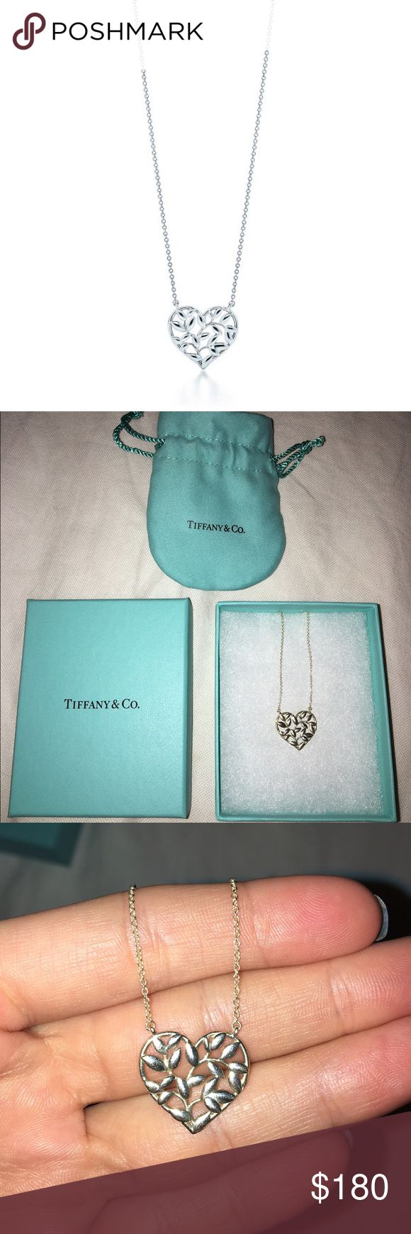 Paloma Picasso Olive Leaf Heart Pendant -barely worn-Tiffany Silver Necklace-perfect condition-comes with Tiffany box and bag-amazing deal ($225 in Tiffany stores)- Tiffany & Co. Jewelry Necklaces