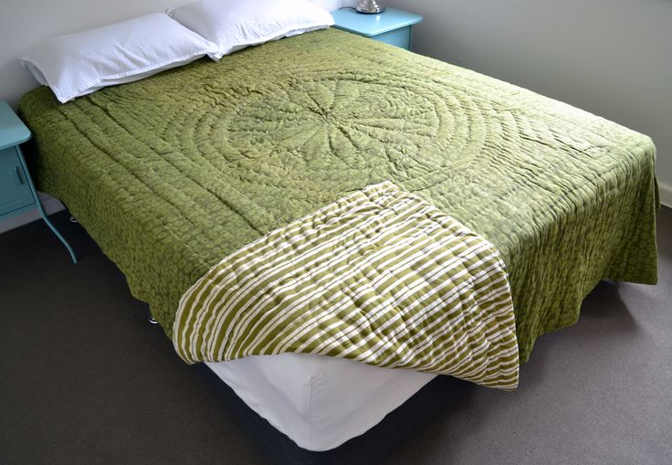 Green mud dye block print, reversible with green and white stripe design. This natural dye and wood block print textile is winter weight, colour-fast, 100% quality cotton, cold wash or dry clean Size 220 x 260 cm queen / king size
