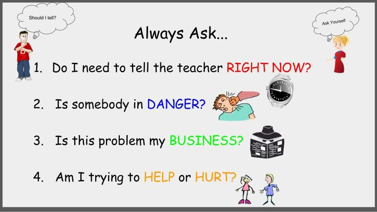 Students think it is their job to tell me when someone is doing something wrong. This, of course, ends in an argument that continues into the next week. I started searching for stories or videos. What I found most helpful was this youtube video https://www.youtube.com/watch?v=Igyl0WO2mXM I made these cue cards for each student's desk.