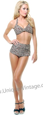 Vintage Inspired Swimsuit 50's Style Leopard Print Bikini