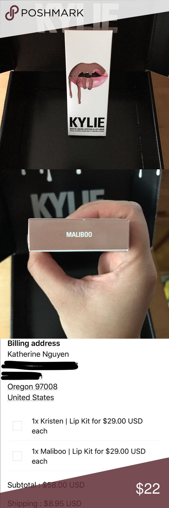 """Kylie Lip Kit """"Maliboo"""" Brand new, never been used. Authentic. I have a huge makeup collection that I haven't used, just like to buy whatever is trendy. However, I'm trying to sell most of my collection for school tuition so I'm just parting away with the ones I don't think I'll need. I'm not looking for a profit, just hoping to make some money back. Comes with lip liner and lip matte, but will be sent in a regular envelope. Kylie Cosmetics Makeup Lipstick"""