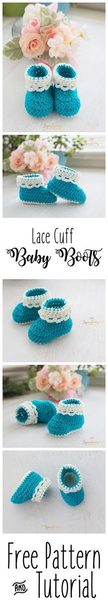 Crochet Baby Boots + Free Pattern, Baby Shoes, Baby Booties, Baby Socks, Crochet Tutorial