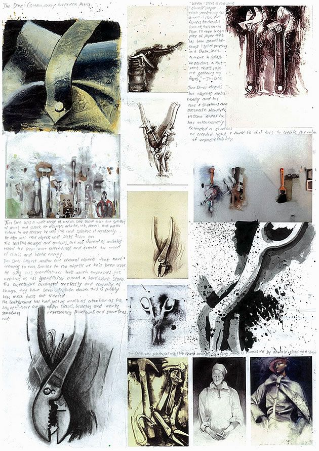 Artist Analysis: Nikau excels in written subjects as well as Art and Design and this International GCSE Art sketchbook page contains a superb analysis of the artwork of Jim Dine. Along with photocopies of Jim Dine's work (printed directly onto the sketchbook page) Nikau completes outstanding imitations of his technique, using Indian ink, charcoal and acrylic paint.