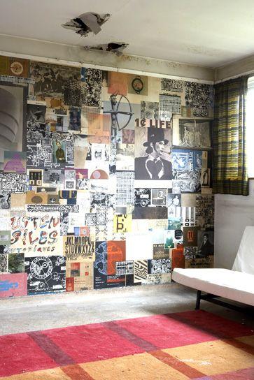 intérieur, déco : mur recouvert de photos, papier mural, photo Rachel Whiting