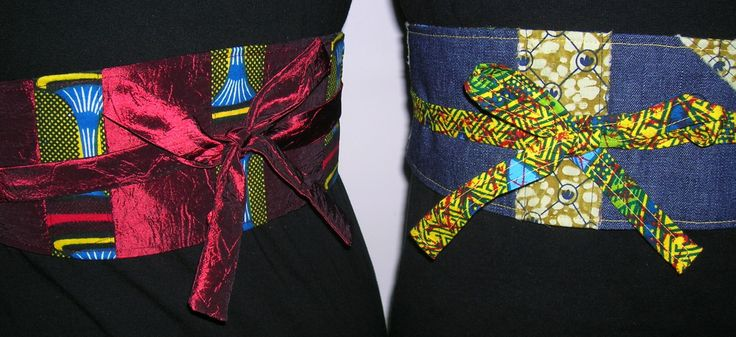 Japanese inspired reversible obi belt with African prints.