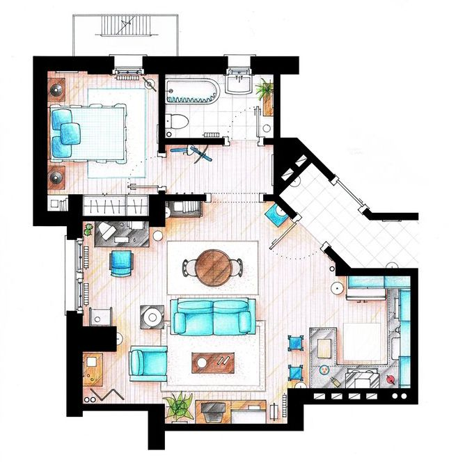 Tv show floor plans on pinterest the golden girls apartment floor