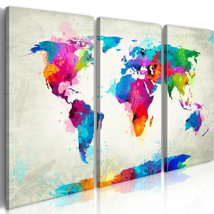 XXL Format Bilder XXL Fertig Aufgespannt Top Vlies Leinwand 3 Teilig Weltkarte Wand Bilder 020113-265 120x80 cm B&D XXL Riesen Bilder Kunstdruck Wandbild
