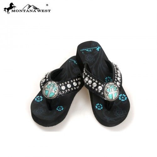 Pewter & turquoise cross concho western flip flops from www.cowgirlshine.com $39