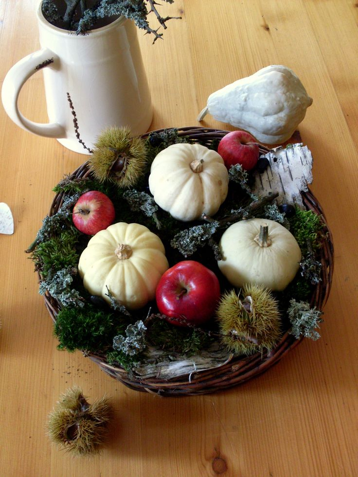 Autumn composition, floristry, pumpkin, apple, pumpkins, nature, moss, birch bark, autumn in Poland