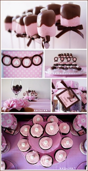 pink and brown. great for girly party or baby shower!Pink Baby Showers, Girl Baby Showers, Baby Shower Ideas, Cute Ideas, Parties Ideas, Baby Girls, Girls Shower, Girls Baby, Babyshowerideas