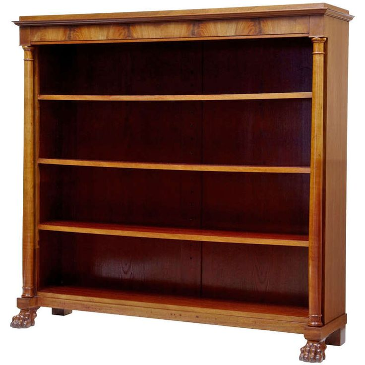 19th Century Mahogany Empire Influenced Open Bookcase | From a unique collection of antique and modern bookcases at https://www.1stdibs.com/furniture/storage-case-pieces/bookcases/