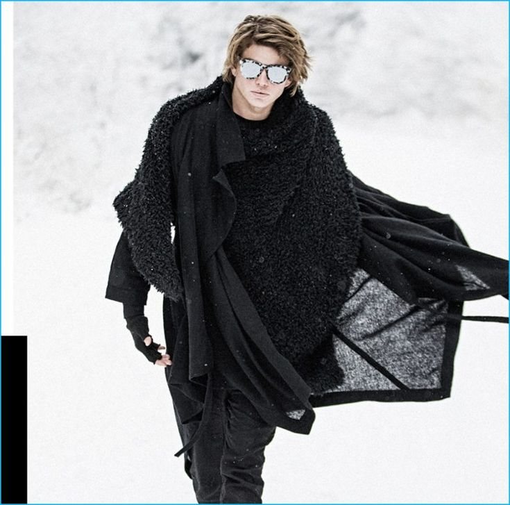 Jordan Barrett layers to brace the elements as he stars in Valley Eyewear's latest campaign.