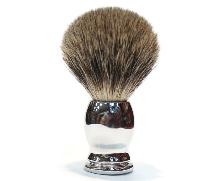 The Ice Chrome Best Badger brush. All badger, but a higher bristle count using the softest, finest badger hair. A dense brush that produces a thick lather. Available at House of Knives.