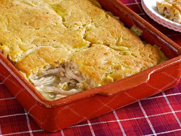Chicken Pie Recipe : Trisha Yearwood : Food Network - FoodNetwork.com Reviews recommend adding a cup or so frozen vegetables and a layer of cheddar cheese before pouring crust layer and use less broth or add a tbs of flour to broth to thicken.