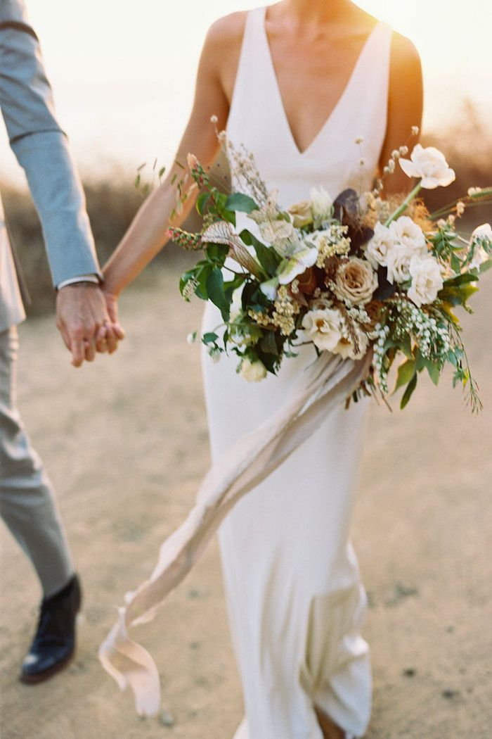 california inspired wedding bouquet with white, mauve, green and blush flowers