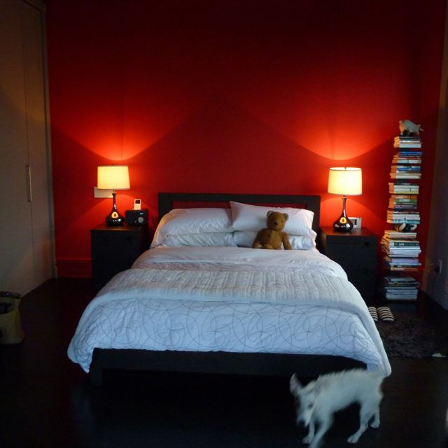 Red Bedroom wall- this is what our room will sort of look like eventually.