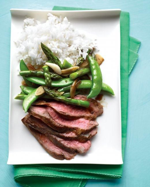 Flank Steak with Snap-Pea and Asparagus Stir-Fry Recipe