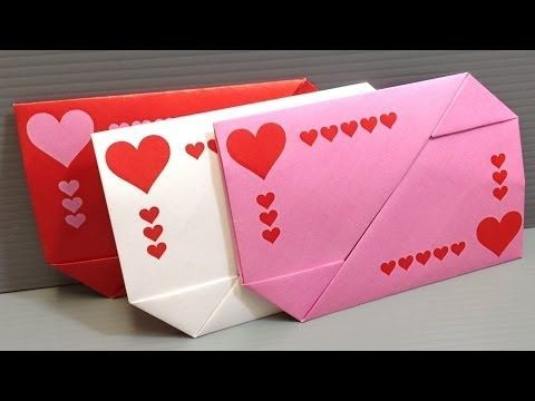 origami valentines day gift card envelopes print at home youtube