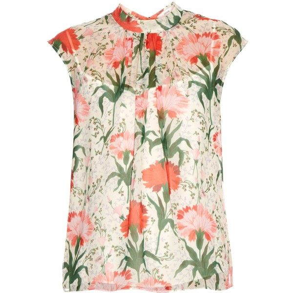 Erdem Iona Carnation-print silk-voile top (2.075 RON) ❤ liked on Polyvore featuring tops, red white, white camisole, red top, red cami top, sheer top and red camisole