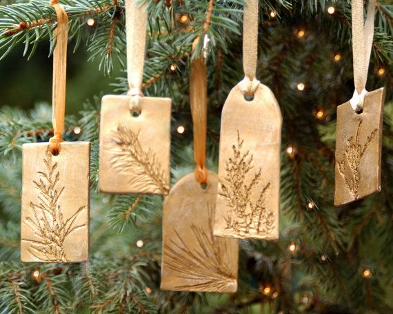 CHRISTMAS Ceramic Ornament with Natural Plant Impression