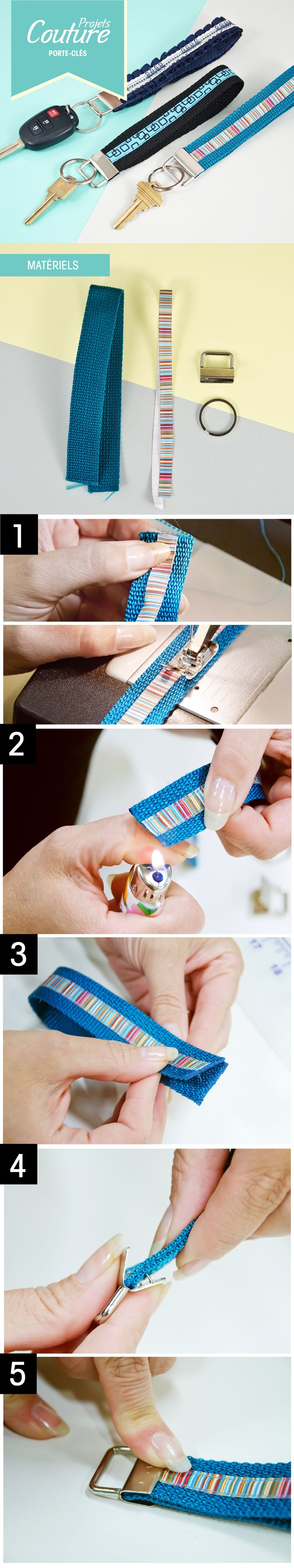 PAS à PAS: Un porte-clés simple et personnalisé! #DIY #couture http://clubtissus.com/articles-blog/articles-couture/projet-porte-cles