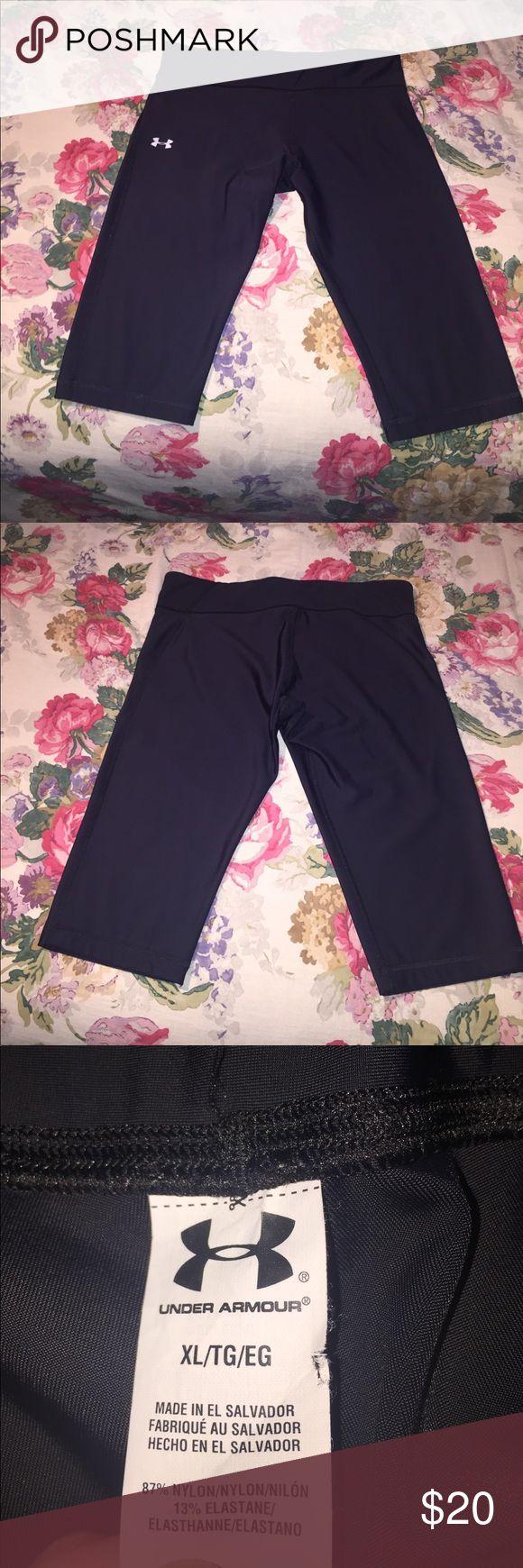 Under Armout Black Capri Legging Back inner pocket (pictured). Like new, barely worn. Under Armour Pants Leggings