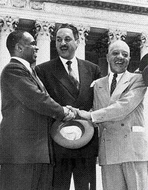 Alpha Phi Alpha member Thurgood Marshall (center) and Brother Marshall (right) congratulating each other, following the U.S. Supreme Court decision in Brown v. Board of Education declaring segregation unconstitutional. Brother Thurgood Marshall would later become the first African American to serve on the US Supreme Court. #historic