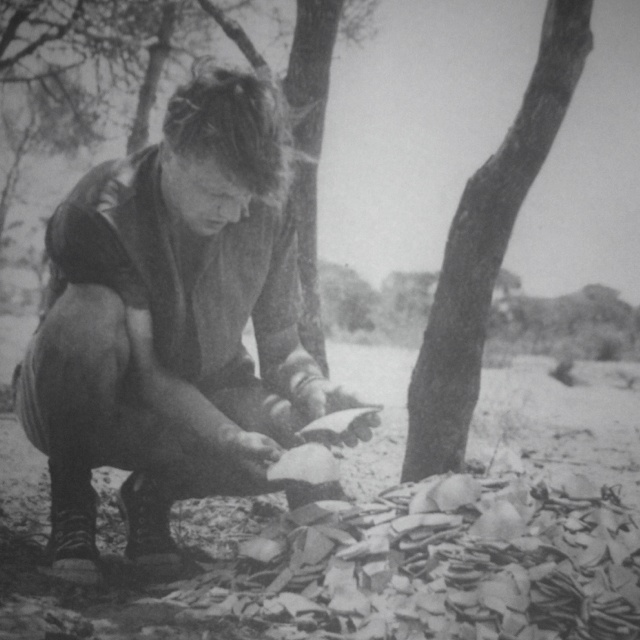 A young David Attenborough collecting fragments of the world's largest egg – that of the extinct Aepyornis of Madagascar.
