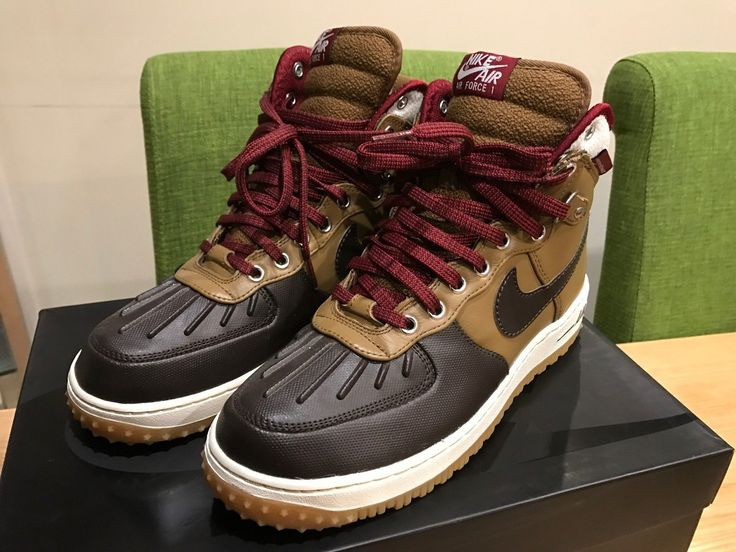 #Men's nike air force 1 #duckboot, umber/velvet #brown/sail/team red, uk 8, new!,  View more on the LINK: 	http://www.zeppy.io/product/gb/2/162302839523/