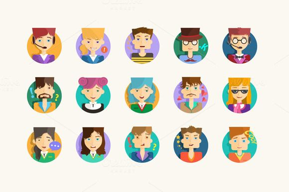 Check out Flat avatars with a modern look by Dana Costin on Creative Market