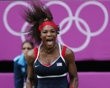 Serena Williams of the U.S. celebrates after winning the women's singles gold medal match against Russia's Maria Sharapova